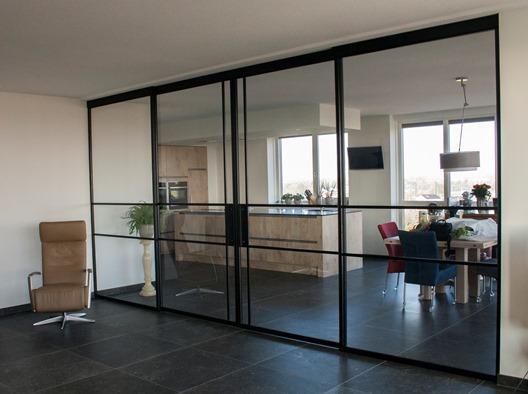 grand steel look schuifdeuren woon en kastenstudio waplalux. Black Bedroom Furniture Sets. Home Design Ideas